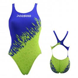 Poqswim Women's Race Endurance+ Polyester One-Piece Swimwear Square Leg Swimsuit