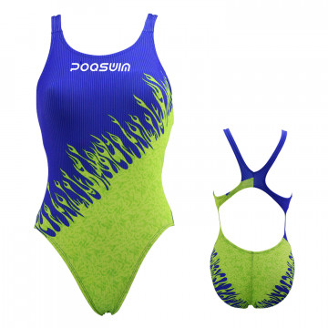 Poqswim Women's Race Endurance+ Polyester One-Piece Swimwear Square Leg Swimsuit
